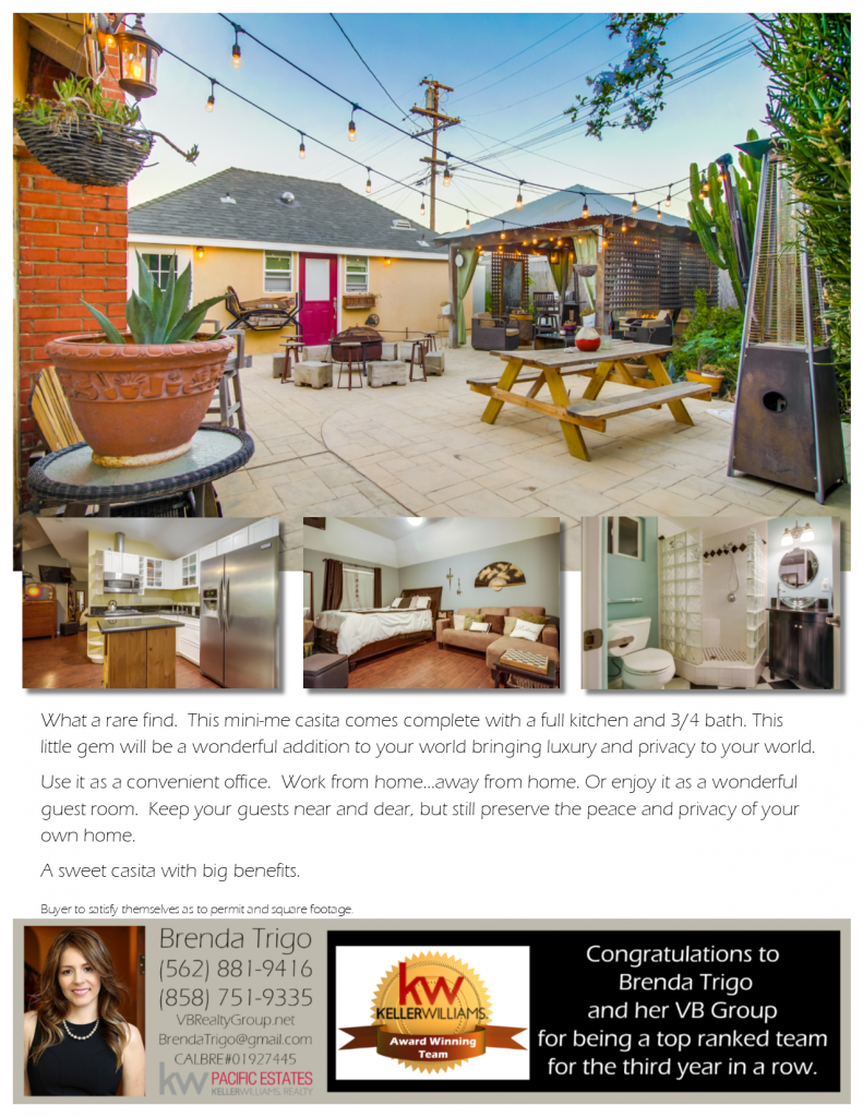 5412 E Parkcrest Street with a Casita offered by Top Ranked Long Beach Realtor, Brenda Trigo.
